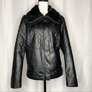 Therapy Vegan Leather Quilted Moto Jacket